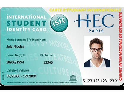 Carte étudiante ISIC HEC compatible contrôle d'accès
